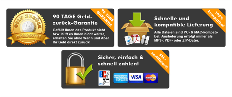 garantie siegel banner guarantee money back secure payment